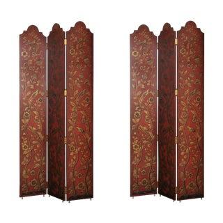 Pair of Three Panel Oriental Style Screens