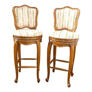 1970s Vintage French Country White Swivel Barstools Bar Stools- A Pair For Sale