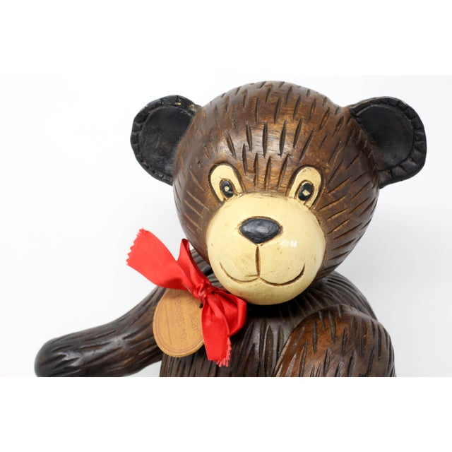 Children's Vintage Hand-Carved Wood Jointed Teddy Bear For Sale - Image 3 of 9