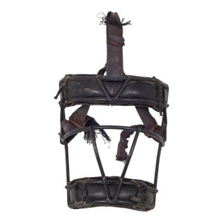 Leather and Metal Catcher's Mask C.1940 For Sale