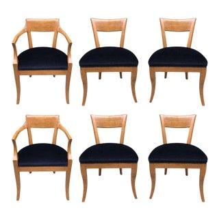 Six Biedermeier Style Dining Chairs with Purple Velvet Seats