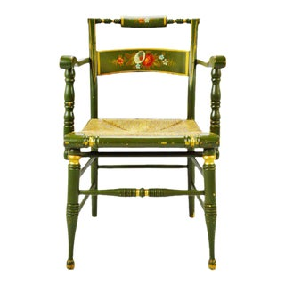 Vintage Hand Painted Rush Seat Arm Chair For Sale