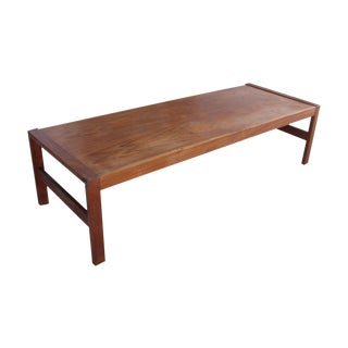Long Rectangular Cocktail Table in Solid Teak For Sale