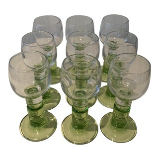 1970s Cordial/Aperitif Glasses With Green Base - Set of 9 For Sale