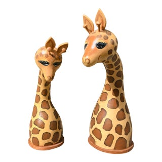 Vintage Hand-Painted Giraffe Head Sculptures - a Pair For Sale