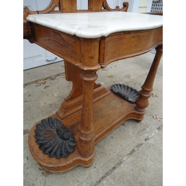 Tall Gothic Style Marble & Wood Coat Hanger Stand - Image 4 of 8