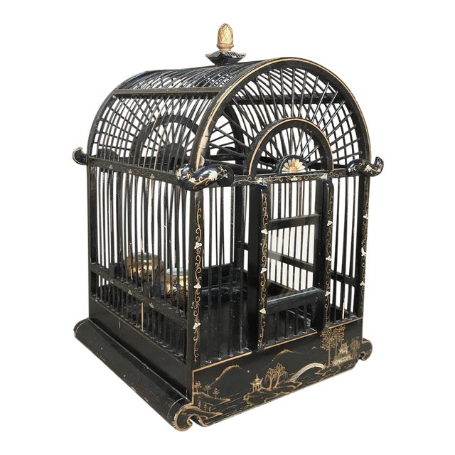 19th Century French Hand-Painted Chinoiserie Bird Cage For Sale