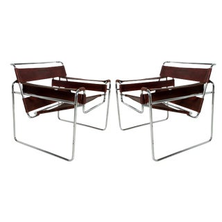 Marcel Breuer Mid-Century Modern Wassily Chairs for Gavina, Italy - a Pair For Sale