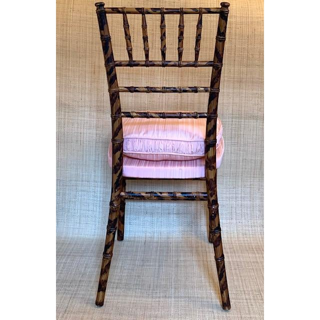 Antique Faux Tortoise Bamboo Ballroom Chairs - a Pair For Sale - Image 4 of 6