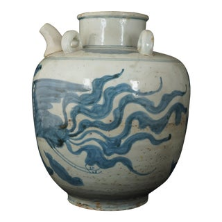 17th Century Chinese Ming Large Blue and White Porcelain Oil Jar With Phoenix For Sale