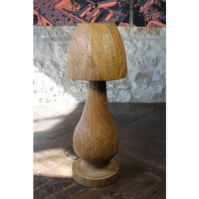 Carved wood mushroom form table lamp