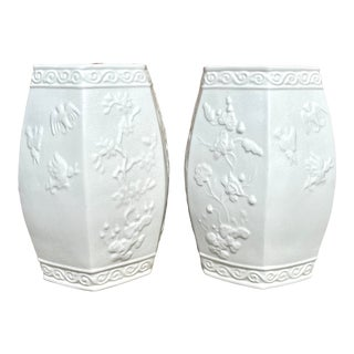 Vintage White Glazed Ceramic Garden Stools - a Pair For Sale