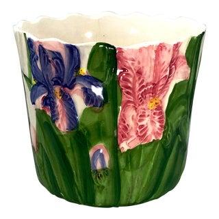 Vintage Hand Painted Porcelain Purple & Pink Iris Flowers Cache Pot / Planter For Sale