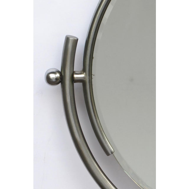Art Deco A Chic American Art Deco 1930's Steel Dressing Mirror Raised on a Maplewood Base With Ebonized Highlights For Sale - Image 3 of 7