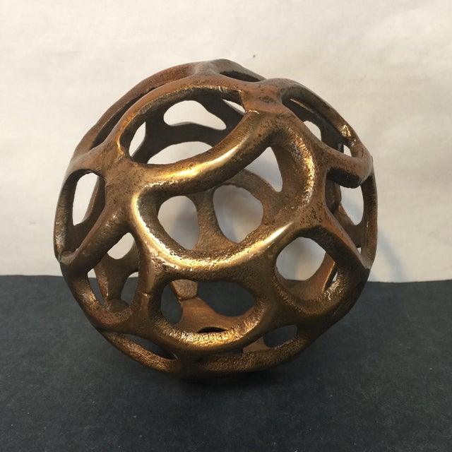 Round Gold Metal Orb - Image 2 of 6
