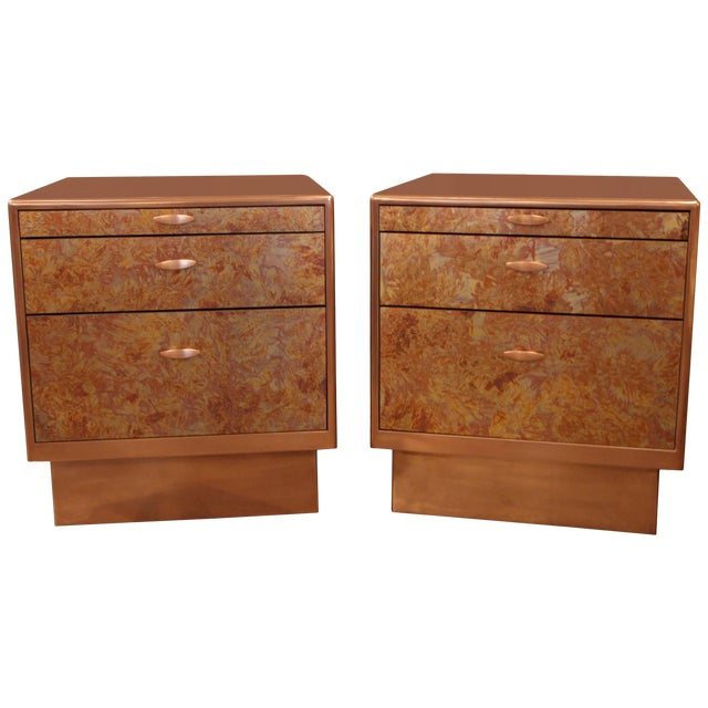 Patinated Copper Sheet Clad Nightstands or Chests - a Pair For Sale