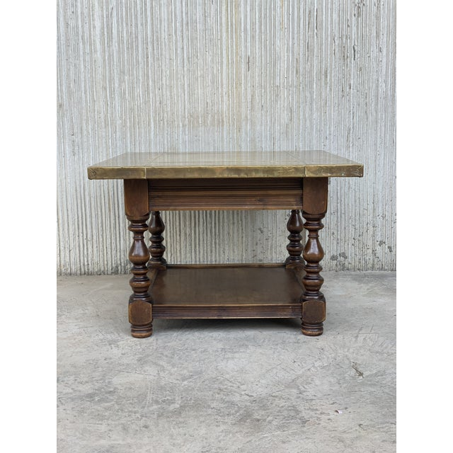 19th Spanish Zinc Top Coffe or Center Table With Turned Legs and Lower Tray For Sale In Miami - Image 6 of 12