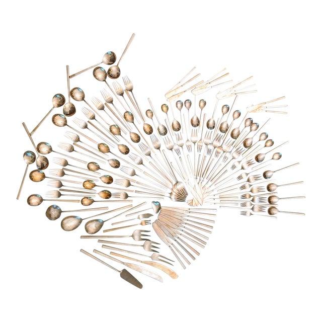 Minimalist Brass Flatware by Sigvard Bernadotte (Service for 12) For Sale