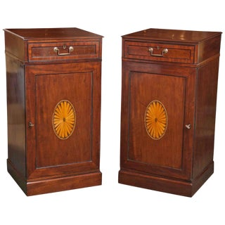 Pair of English Mahogany Hepplewhite Pedestal Cabinets For Sale