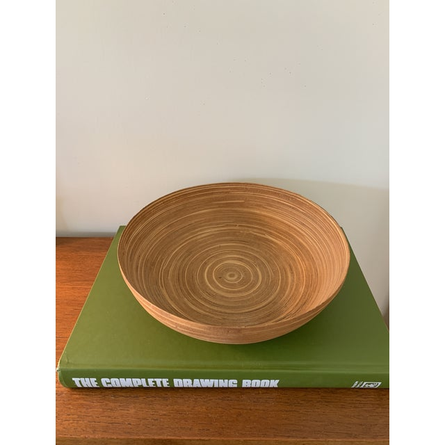 Unique vintage wooden bamboo bowl, would be excellent as a decorative object or even in your kitchen as a fruit bowl. Book...