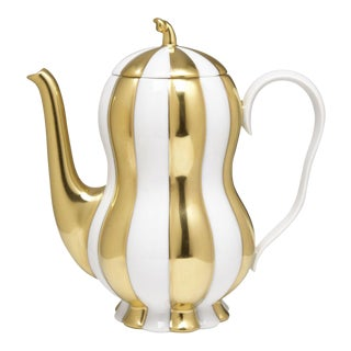 """Melon"" Mocca Pot by Josef Hoffmann Gold For Sale"