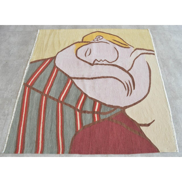 Contemporary Picasso - Woman With Yellow Hair Inspired Hand Woven Area Rug Wall Rug Kilim - 4′6″ × 5′ For Sale - Image 3 of 11