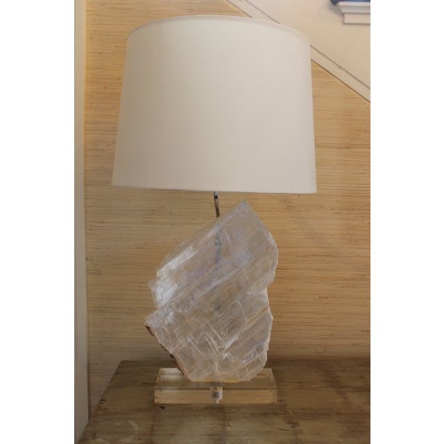 Selenite Stone Lamp With Shade For Sale - Image 11 of 11