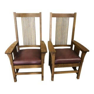 Stickley Mission Dining Armchairs - a Pair