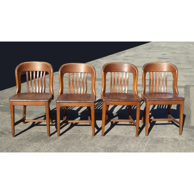 Set of 4 Vintage Mid-Century Brown Solid Wood Farmhouse Chic Library School House Chairs - Image 3 of 11