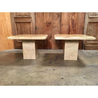 1980 Sculpted Travertine End Tables - a Pair Preview