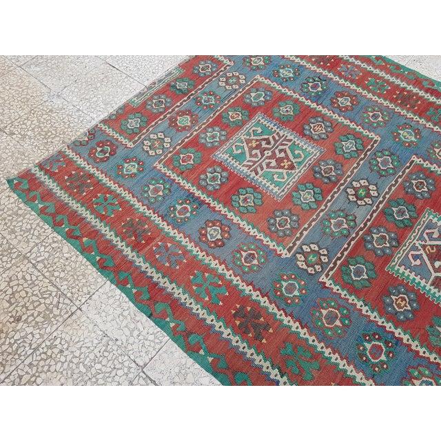 Textile Vintage Blue and Red Turkish Kilim Rug 5'7'' X 7'3'' For Sale - Image 7 of 13