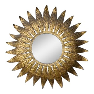 1940s Spanish Gilt Metal Sunburst Mirror For Sale