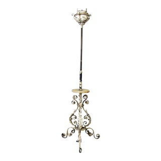 White Floral Iron & Onyx Floor Lamp For Sale