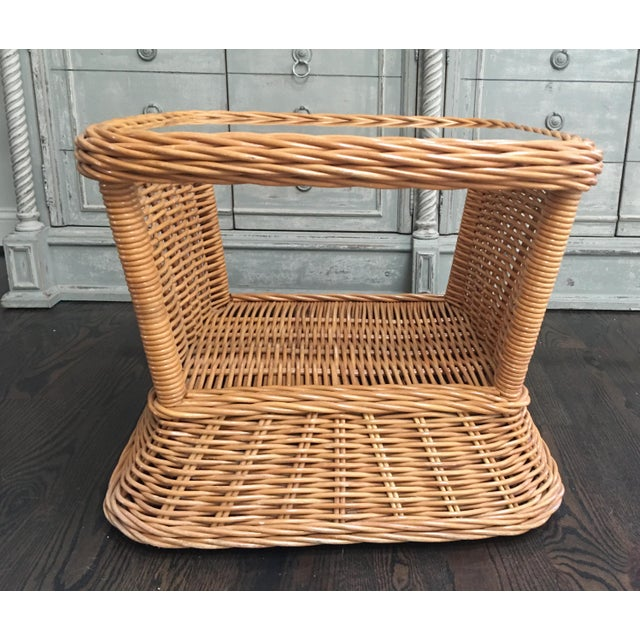 Boho Chic 1970s Boho Crespi Style Woven Rattan Wicker Glass Top Bamboo Table For Sale - Image 3 of 7