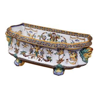 Large 19th Century French Louis XV Hand-Painted Faience Jardinière Signed Gien For Sale