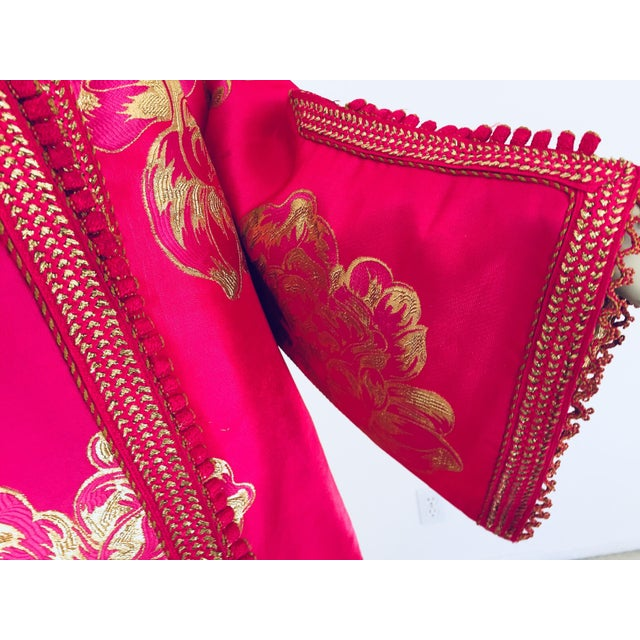 Vintage Designer Moroccan Caftan, Metallic Brocade Kaftan With Pink and Gold For Sale In Los Angeles - Image 6 of 13