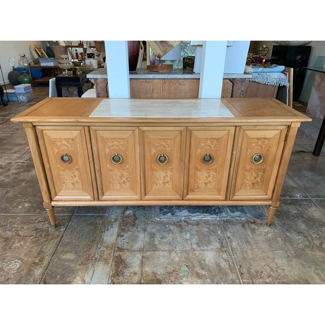Mid Century Modern Burl Wood Credenza With Inset Marble Top - American of Martinsville For Sale - Image 12 of 12