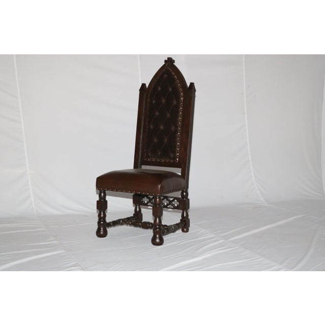 Gothic Cross Tufted Dining Chair For Sale In Dallas - Image 6 of 7