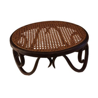 1900s Art Nouveau Thonet Bentwood and Caning Footstool