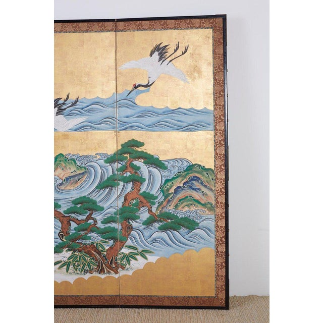 Japanese Six Panel Screen of Cranes by the Sea For Sale - Image 4 of 13