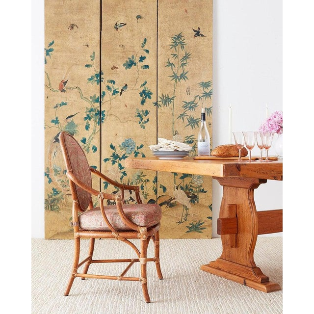 Fascinating continental chinoiserie painted wallpaper screen depicting flora and fauna. Beautifully decorated with birds...