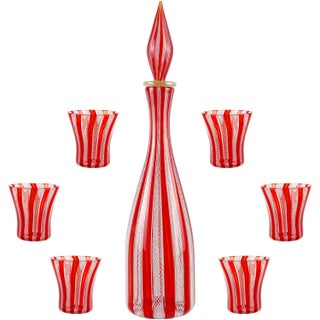 Mid 20th Century Murano Red White Ribbons Italian Art Glass Decanter and Shot Glasses - Set of 7 For Sale