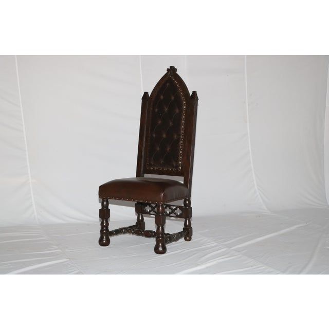 Wood Gothic Cross Tufted Dining Chair For Sale - Image 7 of 7