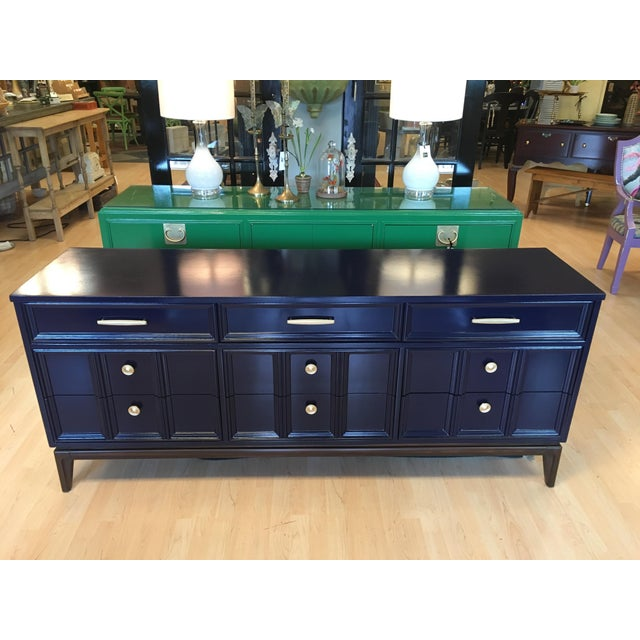 Navy Blue Mid Century Modern Dixie Navy Blue Dresser For Sale - Image 8 of 8