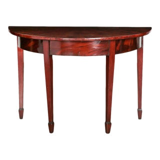 Antique Continental Mahogany Demilune Side Table For Sale