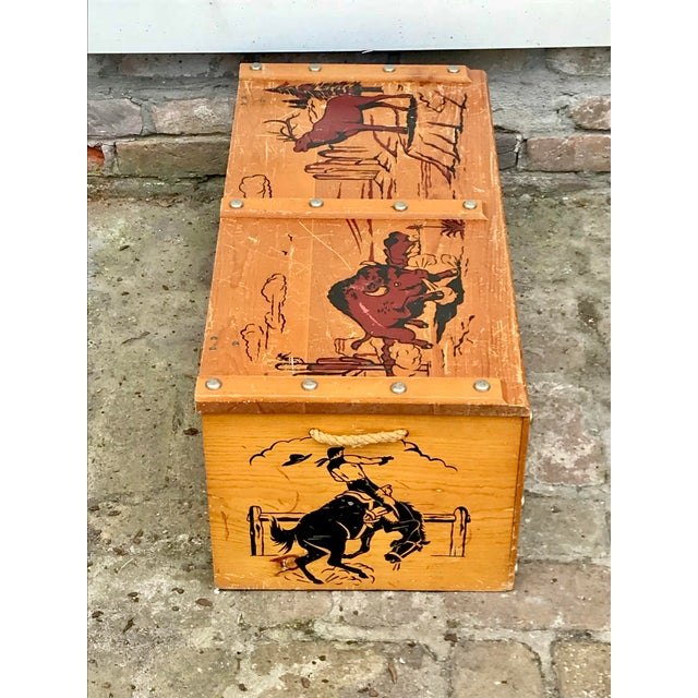 1950s Vintage Cowboys and Indians Wooden Toy Chest For Sale - Image 9 of 13