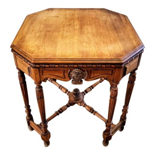Antique American Victorian Carved Walnut Octagonal Parlor Table For Sale