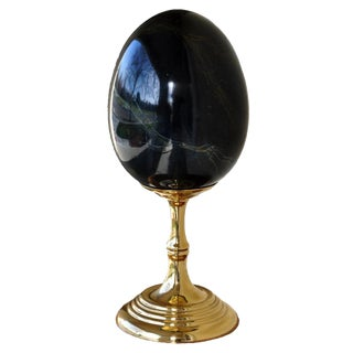 Maitland-Smith Wooden Egg Sculpture on Brass Stand