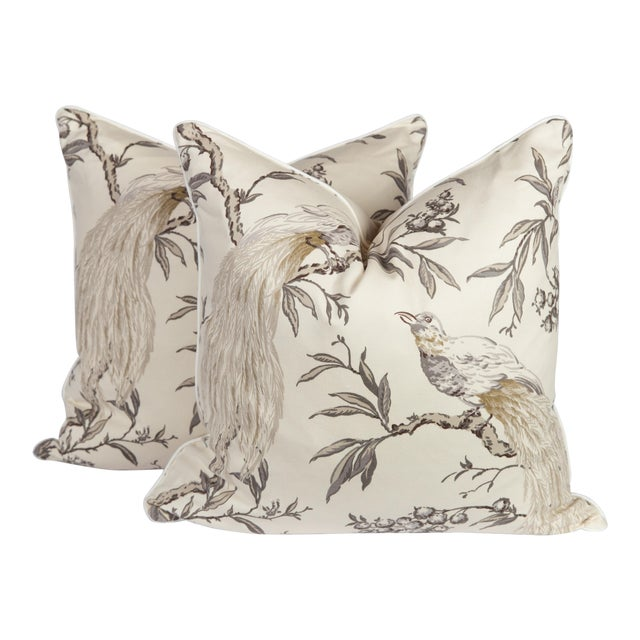 Gray & Ivory Chinoiserie Bird Pillows, a Pair For Sale