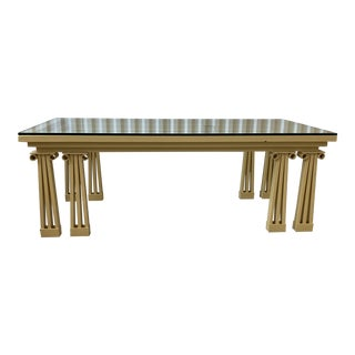 Postmodern Ionic Double Column Lacquered Wrought Iron Glass Coffee Table For Sale